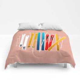 Colorful Ski Illustration and Pattern no 2 Comforters