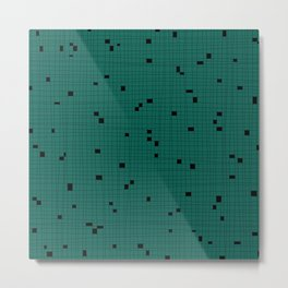 Green and Black Grid - Missing Pieces Metal Print