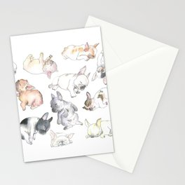 Sleepy French Bulldog Puppies Stationery Cards