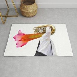 Musician and Flower Horn Rug