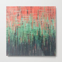 Coral Mint Navy Abstract Metal Print