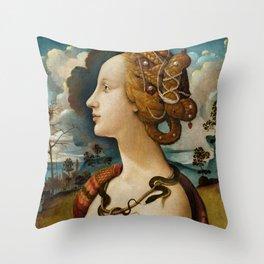"""Piero di Cosimo """"Portrait de Simonetta Vespucci"""" Throw Pillow"""