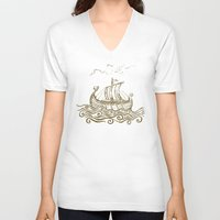 rowing V-neck T-shirts featuring Viking ship by mangulica illustrations
