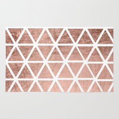 Geometric faux rose gold foil triangles pattern Rug