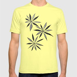 Elegant Thin Flowers With Dots And Swirls T-shirt