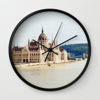 budapest Wall Clocks featuring Budapest by Christina Annbel
