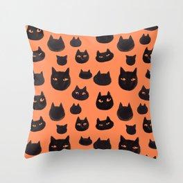 Halloween Inky Black Cat Pattern Throw Pillow