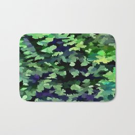 Foliage Abstract Camouflage In Forest Green and Black Bath Mat
