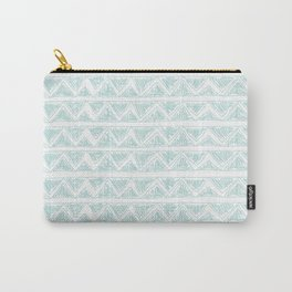 Modern abstract green white zigzag stripes pattern Carry-All Pouch