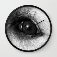 golden retriever Wall Clocks featuring Golden retriever eye by Isabelle Savard-Filteau