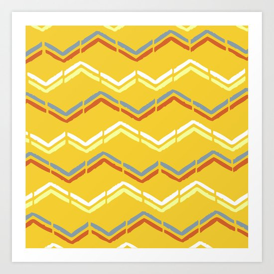 Tribal zig-zags Art Print