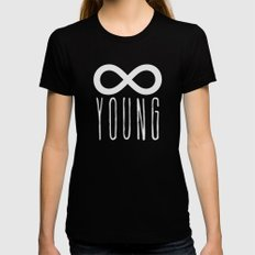 Forever Young Womens Fitted Tee SMALL Black