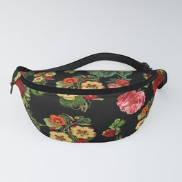 Black and red Vintage roses Fanny Pack
