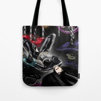 monika strigel Tote Bags featuring Monika by RebelInkGirl
