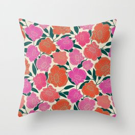 Bold Poppies in hot pink, corals and burnt orange Throw Pillow