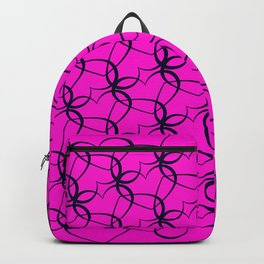 Vintage background of openwork hearts. Pattern of silhouettes of black hearts on a purple background Backpack
