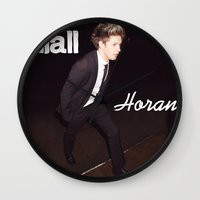 niall horan Wall Clocks featuring Niall Horan by Marianna