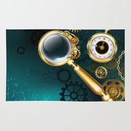 Magnifier in Steampunk Style Rug