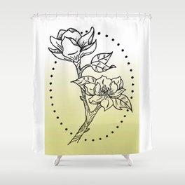 Magnolia Tree Branch Illustration Shower Curtain