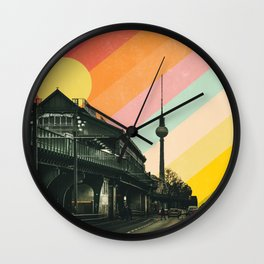 Vintage Berlin Cityscape Poster Wall Clock