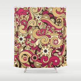 Vintage Hippie Swirl Pattern Shower Curtain