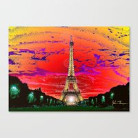 dark tower Canvas Prints featuring Eiffel Tower after dark by JT Digital Art