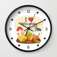 coraline Wall Clocks featuring Ernest and Coraline   I love Wisconsin by Hisame Artwork