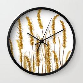 golden wheat field watercolor Wall Clock