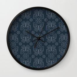 Japanese Sashiko Butterflies & Flowers Wall Clock