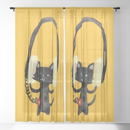 I Love Huge Headphone Sheer Curtain