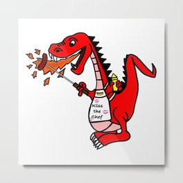 BBQ Dragon Metal Print
