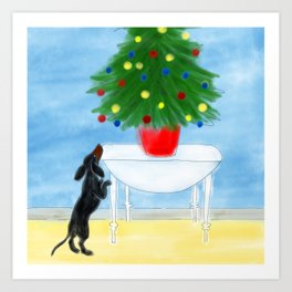 Dachshund and Christmas Tree Art Print