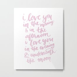 I LOVE YOU TO THE MOON – NURSERY PRINT Metal Print