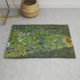The Sunflower (and wildflowers) by Gustav Klimt Rug