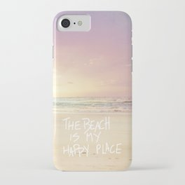 the beach is my happy place iPhone Case