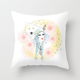 Girl and wolf Throw Pillow