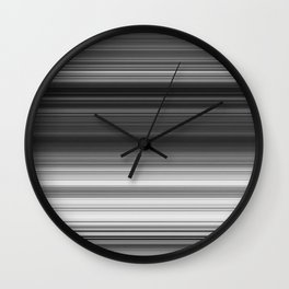 Black White Gray Thin Stripes Wall Clock