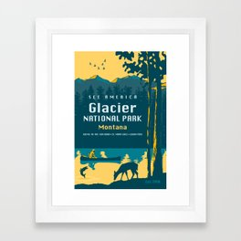 See America – Glacier National Park Travel Poster Framed Art Print