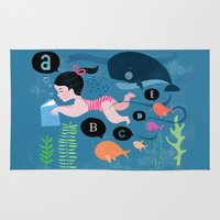 swimming Area & Throw Rugs featuring Swimming by Sugar Snap Studio