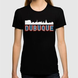 Red White Blue Dubuque Iowa Skyline T-shirt