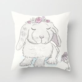 Bunny Rabbit Bonnie with Flower Crown  Throw Pillow