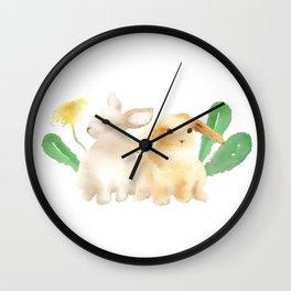 Cute Rabbits in Watercolor Wall Clock