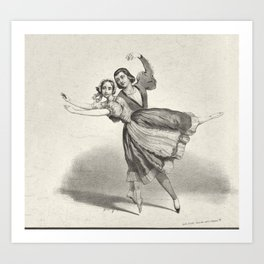 The Dancers, young man and woman, graphite, black white Art Print