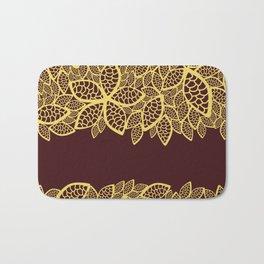 Oriental Persian Paisley, Leaves - Red Yellow Bath Mat