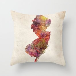 New Jersey map Throw Pillow