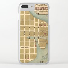 Vintage Map of Beaufort SC (1860s) Clear iPhone Case