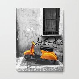 Orange Vespa in Bologna Black and White Photography Metal Print
