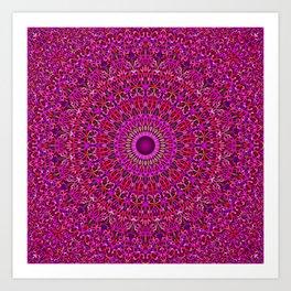Deep Pink Garden Mandala Art Print