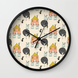 Tree Little Pigs Wall Clock
