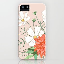 Cosmos and Dahlia on Pink iPhone Case